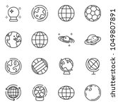 thin line icon set   around the ... | Shutterstock .eps vector #1049807891