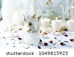 glitter feathers in jar with...   Shutterstock . vector #1049815925