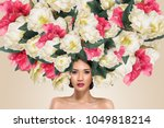 abstract fashion portrait of...   Shutterstock . vector #1049818214