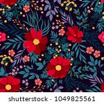 flowery bright pattern in red... | Shutterstock .eps vector #1049825561