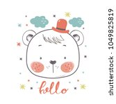 cute bear in top hat .cartoon... | Shutterstock .eps vector #1049825819