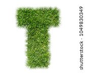 3d Illustration Grass Letter  ...