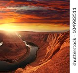 Horse Shoe Bend At Sunset