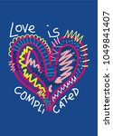 love is complicated t shirt... | Shutterstock .eps vector #1049841407