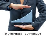 Business people hold graph isolated on white. - stock photo