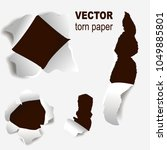 torn edges paper hole lacerated ... | Shutterstock .eps vector #1049885801