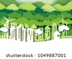 eco green city.save the world... | Shutterstock .eps vector #1049887001