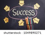 Small photo of colorful pencils and a acetate with the keys for success