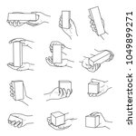 hand gestures with box contour... | Shutterstock .eps vector #1049899271