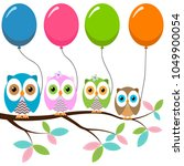 four colorful owls with... | Shutterstock .eps vector #1049900054