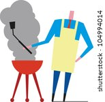 man in apron cooking on a... | Shutterstock .eps vector #104994014