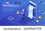 Receipt of statistics data, notification on financial transaction, mobile bank, smartphone with paper bill, two businessman, team leader isometric vector technology | Shutterstock vector #1049969759