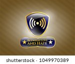 gold emblem with signal icon... | Shutterstock .eps vector #1049970389