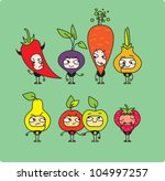cartoon vegetables and fruit | Shutterstock .eps vector #104997257