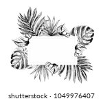tropical flowers and leaves on... | Shutterstock .eps vector #1049976407