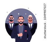 big boss and bodyguards flat... | Shutterstock .eps vector #1049987027