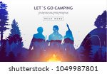 people camping  adventure and... | Shutterstock .eps vector #1049987801