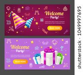 welcome party template card... | Shutterstock .eps vector #1049997695