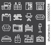 basic furniture icon set in... | Shutterstock .eps vector #1050003254