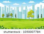 rual summer cityscape with... | Shutterstock .eps vector #1050007784