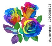 multicolored roses on white... | Shutterstock .eps vector #1050008825