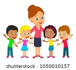 kids  little boys and girls and ... | Shutterstock .eps vector #1050010157