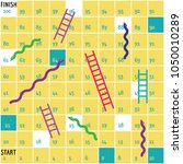 ladders and snakes game board. | Shutterstock .eps vector #1050010289