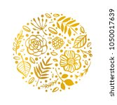 flower circle shape pattern.... | Shutterstock .eps vector #1050017639