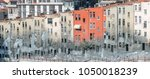 straight row old colored houses ... | Shutterstock . vector #1050018239