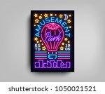 amusement park is a neon style... | Shutterstock .eps vector #1050021521