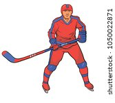 hockey player in red blue... | Shutterstock .eps vector #1050022871