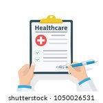 doctor hold clipboard... | Shutterstock .eps vector #1050026531