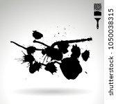 black brush stroke and texture. ... | Shutterstock .eps vector #1050038315