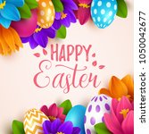 easter background with spring... | Shutterstock .eps vector #1050042677