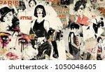 modern teenage girl on grunge... | Shutterstock . vector #1050048605