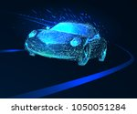 power racing car on speed track.... | Shutterstock .eps vector #1050051284