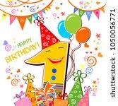 happy first birthday.... | Shutterstock .eps vector #1050056771