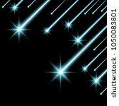 glowing falling stars on black... | Shutterstock .eps vector #1050083801