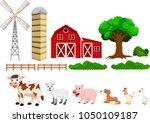 illustration of farm set... | Shutterstock . vector #1050109187