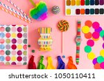 set of colorful objects ftal lay | Shutterstock . vector #1050110411