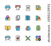 printing vector icon set in... | Shutterstock .eps vector #1050115931