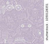 cartoon hand drawn doodles in... | Shutterstock .eps vector #1050128351