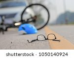 accident car crash with bicycle ... | Shutterstock . vector #1050140924