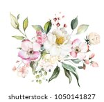 decorative watercolor flowers.... | Shutterstock . vector #1050141827