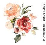 watercolor flowers. floral... | Shutterstock . vector #1050141839