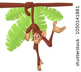 cute monkey chimpanzee hanging  ... | Shutterstock . vector #1050141881