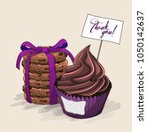 cupcake with chocolate cream in ... | Shutterstock .eps vector #1050142637