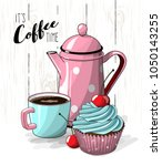 cupcake with blue cream and...   Shutterstock .eps vector #1050143255