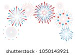 red and blue festive fireworks... | Shutterstock . vector #1050143921