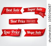 a set of red paper sale banners.... | Shutterstock .eps vector #1050146087